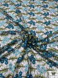 Double Scalloped Floral Embroidered Fine Tulle - Teal / Lime / Aqua / Black