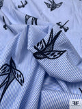 Birds and Dragonflies in Flight Embroidered Striped Cotton Shirting - Blue / White / Black