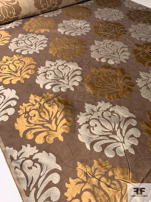 Damask-Like Regal Jacquard Brocade - Brown / Copper