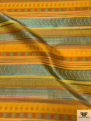 Made in France Multi-Patterned Striped Brocade - Orange / Teal / Purple / Pink