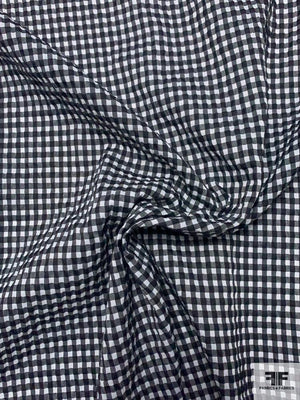Gingham Seersucker Yarn-Dyed Cotton Blend Shirting - Black / White