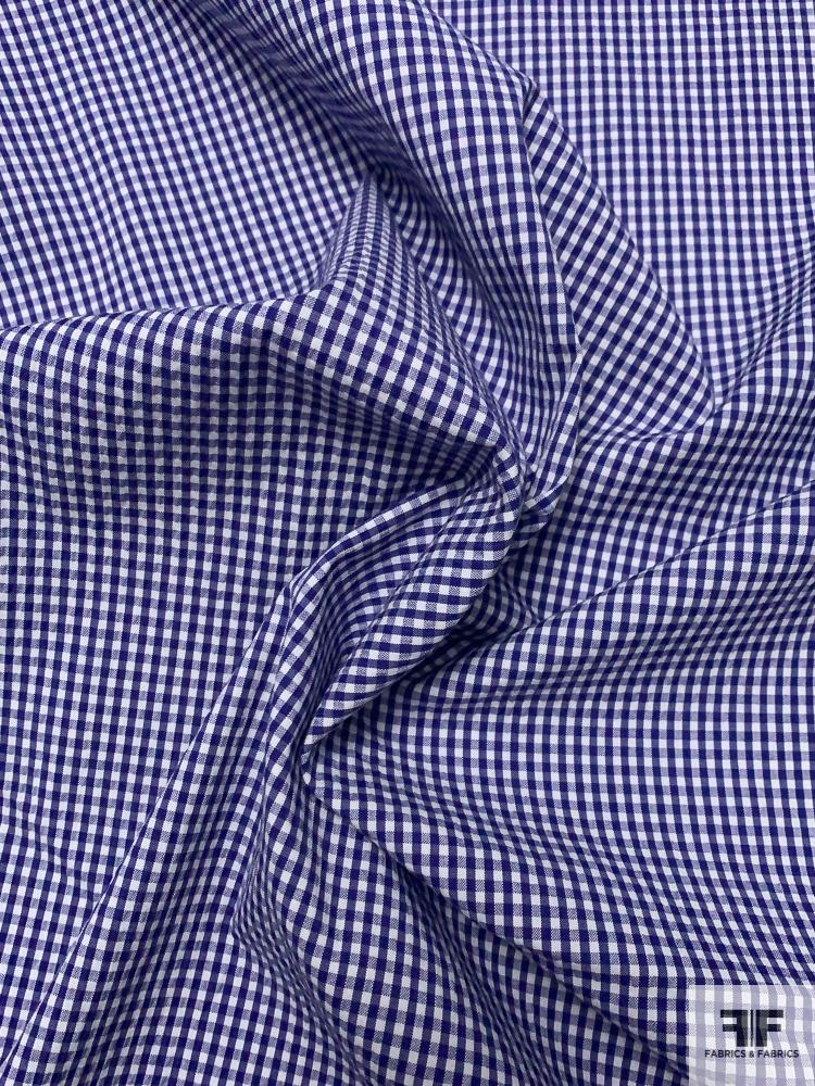 Gingham Seersucker Yarn-Dyed Cotton Shirting - Blue / White