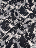 Italian Pucci-Like Printed Cotton Voile - Black / White / Gray