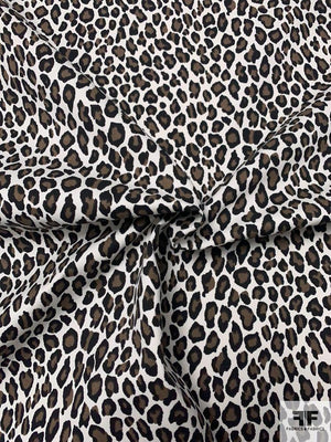 Animal Printed Cotton Twill - Black / White / Brown