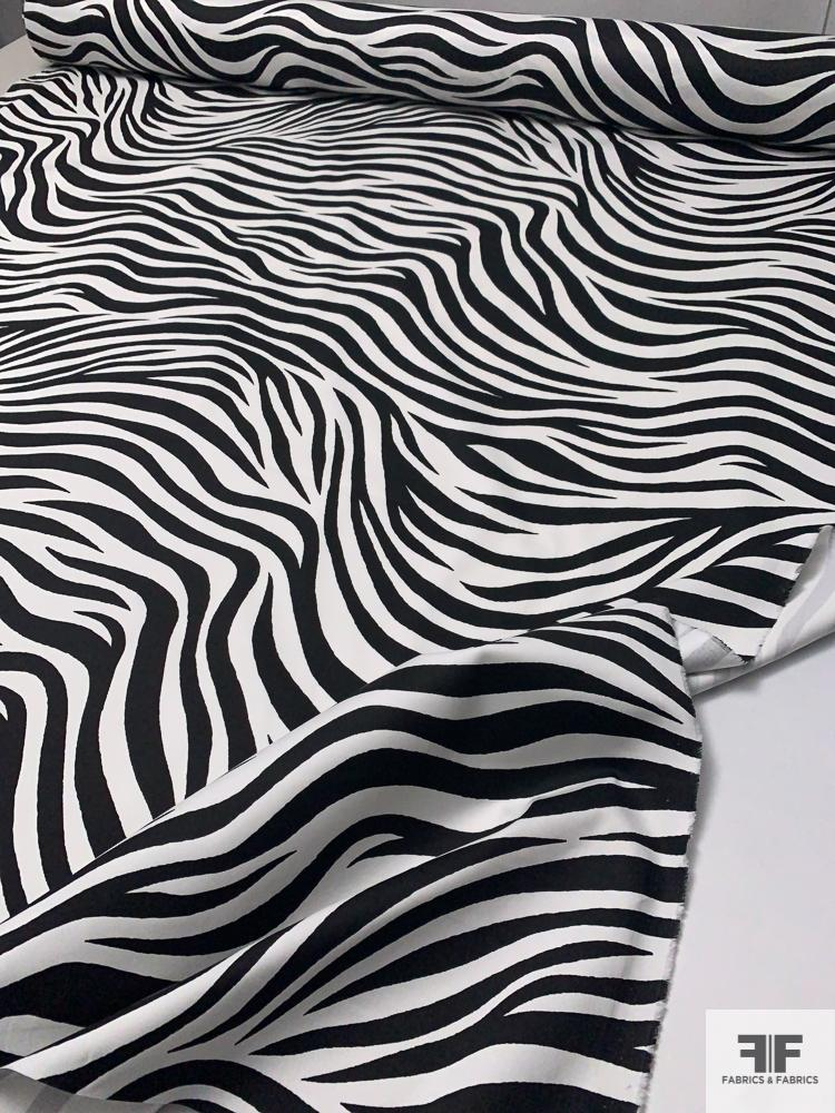 Zebra Printed Stretch Cotton Sateen - Black / White