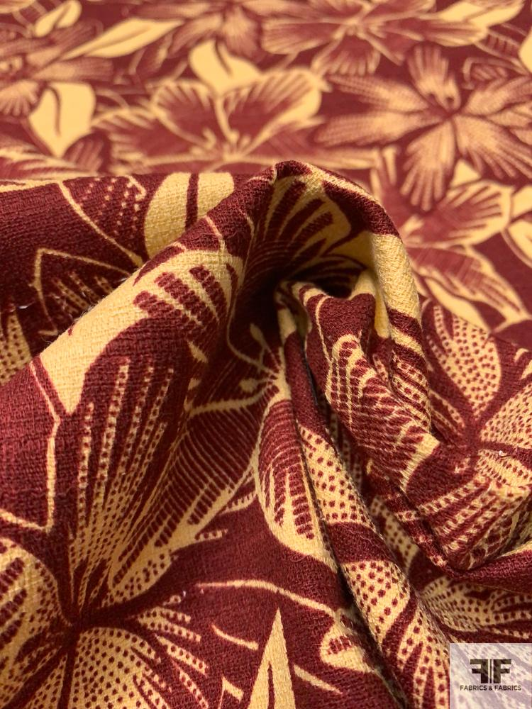 Tropical Floral Textured Stretch Linen-Weave Cotton - Maroon / Butter Yellow