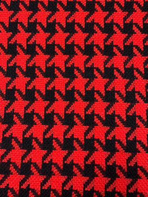 Italian Houndstooth Wool Tweed - Red / Black
