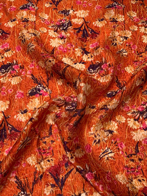 Anna Sui Textured Floral Cloque Jacquard Silk Nylon Blend Organza - Pumpkin Orange / Plum