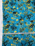 Anna Sui Textured Floral Cloque Jacquard Silk Nylon Blend Organza - Turquoise / Yellow / Green