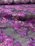 Novelty Poly Organza with Matelasse Floral Design and Woven Yarns - Purple / Dusty Pink / Black