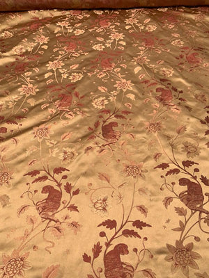 Monkeys on Vines Silk Satin Brocade - Tan-Gold / Mauve
