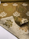 Double-Sided Large Scale Regal Damask-Like Silk Brocade - Olive Green / Sand