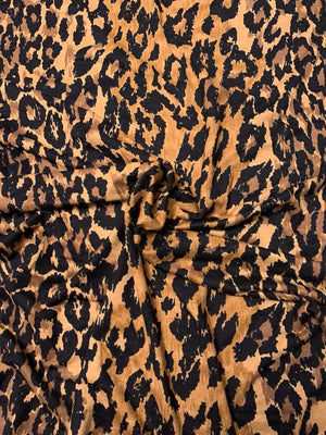 Leopard Printed Rayon Spandex Jersey Knit - Brown / Tan / Black