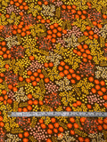 Ditsy Floral Printed Lightweight Rayon Spandex Matte Jersey Knit - Orange / Yellow / Brown