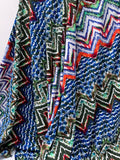 Tropical Boho Chevron Printed Rayon Spandex Jersey Knit - Green / Blue / Multi