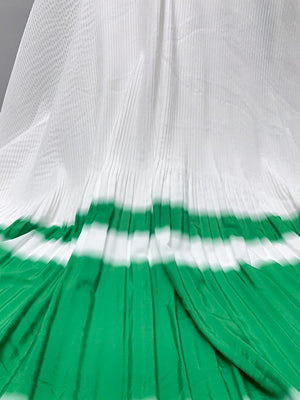 Prabal Gurung Border Spray Paint-Look Pleated Polyester Crepe de Chine - Irish Green / White