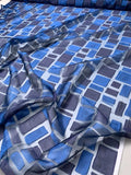 Blue Rectangles Fil Coupe Polyester Organza - Navy / Royal / Purple