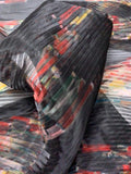 Italian Mystical Floral Pleated Polyester Organza - Black / Red / Green
