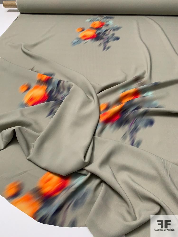 Italian Hazy Floral Bouquets Printed Stretch Viscose Crepe Panel - Taupe / Orange / Navy