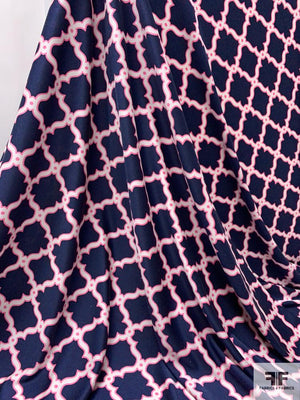 Lattice Printed Silk Jersey Knit Panel - Navy / Pink / White