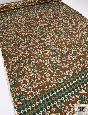 Renaissance Floral Printed Silk Jersey Knit Panel - Brown / Evergreen / Tan