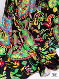 Italian Bold Paisley Vines Printed Silk Jersey Knit - Green / Yellow / Hot Pink / Black