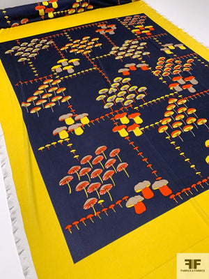 Mushrooms in Frame Printed Silk Jersey Knit Panel - Navy / Orange / Yellow / Taupe