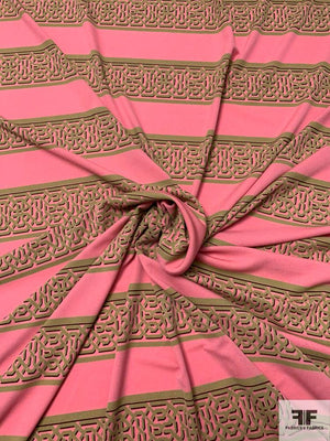 Horizontal Lattice Striped Printed Silk Jersey Knit - Pink / Light Olive / Plum