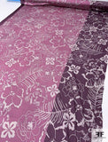 Leaves and Flowers Printed Silk Jersey Knit - Dusty Rose / Plum Purple / Grey