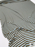 Horizontal Striped Printed Silk Jersey Knit - Sky Blue / Olive Green