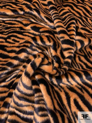 Luxurious Tiger Printed Faux Fur - Caramel / Black
