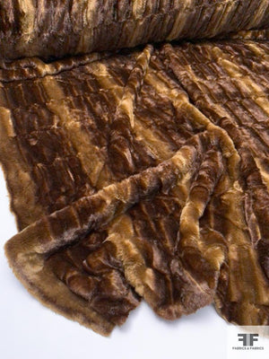 Ultra Soft Embossed Vertical Striped Faux Fur - Brown / Caramel