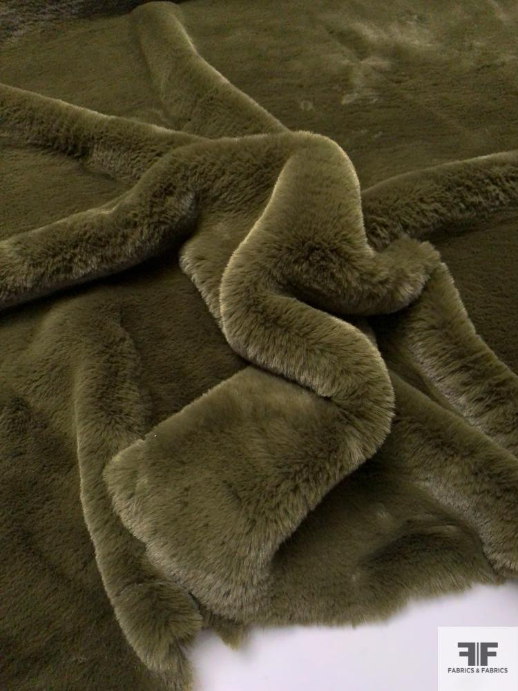 Ultra Soft Mink Solid Faux Fur - Army Green