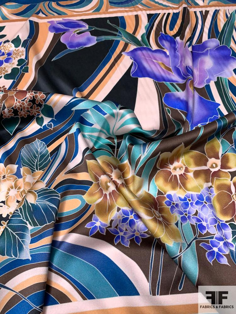 Retro Tropical Printed Stretch Silk Charmeuse Panel - Blue / Multicolor
