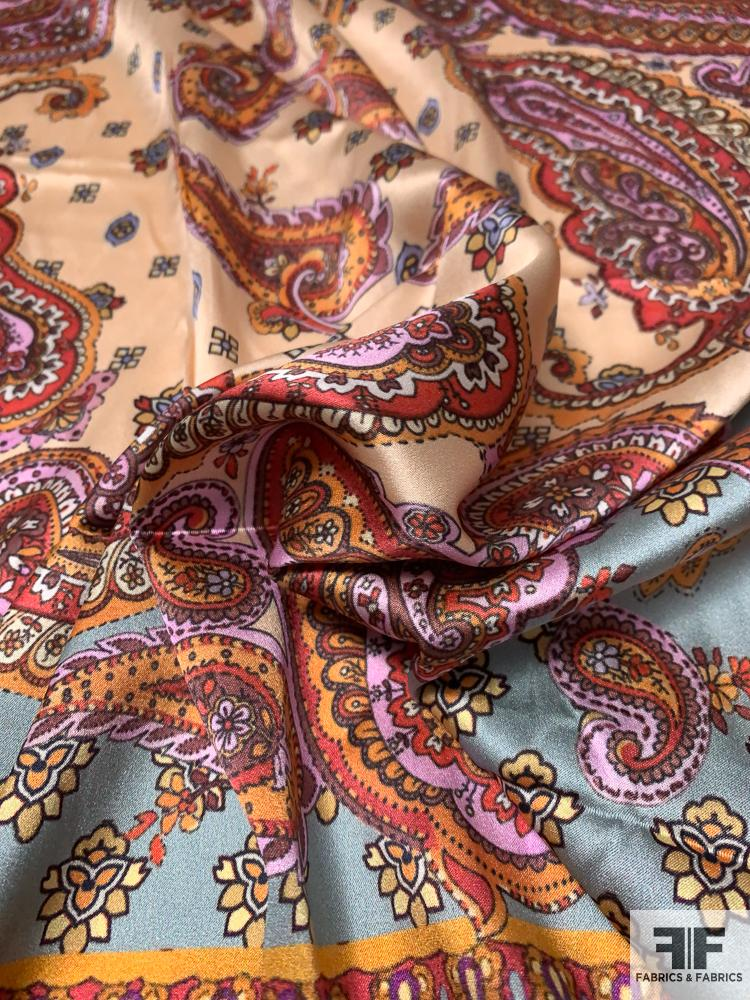 Paisley Scarf Motif Printed Stretch Silk Charmeuse Panel - Multicolor