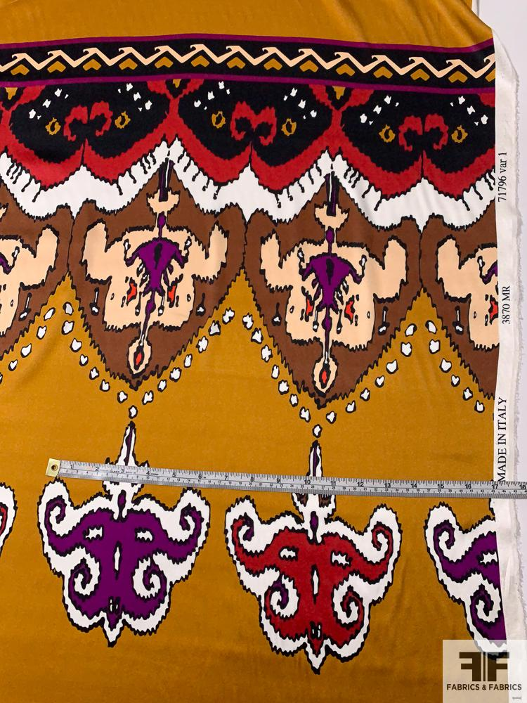 Tribal Pattern Printed Stretch Silk Charmeuse Panel - Turmeric / Red / Purple / Brown