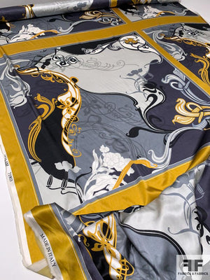Artistic Abstract Printed Stretch Silk Charmeuse Panel - Mustard-Gold / Grey / Black / White
