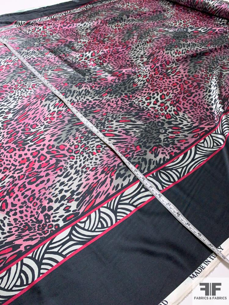 Double-Border Leopard Printed Stretch Silk Charmeuse - Berry / Pink / Grey / Black