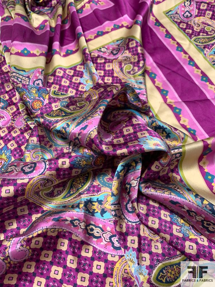 Paisley Scarf Motif Printed Stretch Silk Charmeuse Panel - Magenta / Teal / Beige