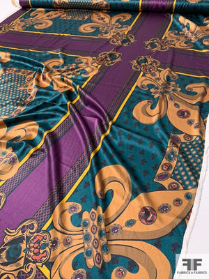 Regal Gems Motif Printed Stretch Silk Charmeuse Panel - Purple / Gold / Teal