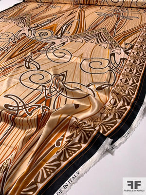 Large-Scale Art Nouveau Printed Stretch Silk Charmeuse - Beige / Caramel / Brown
