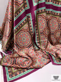 Oriental Medallion Scarf Motif Printed Stretch Silk Charmeuse Panel - Coral / Eggplant / Brown