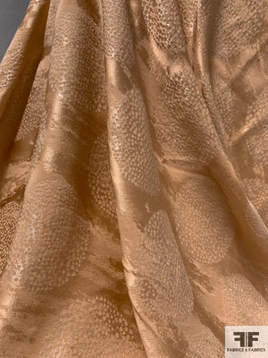 Italian Novelty Silk Jacquard with Lurex Circle Design - Nude
