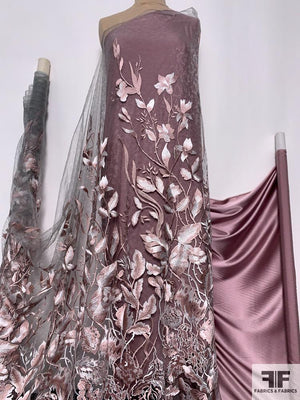 Feminine Floral Embroidered Fine Lace Tulle - Mauve / Grey / White