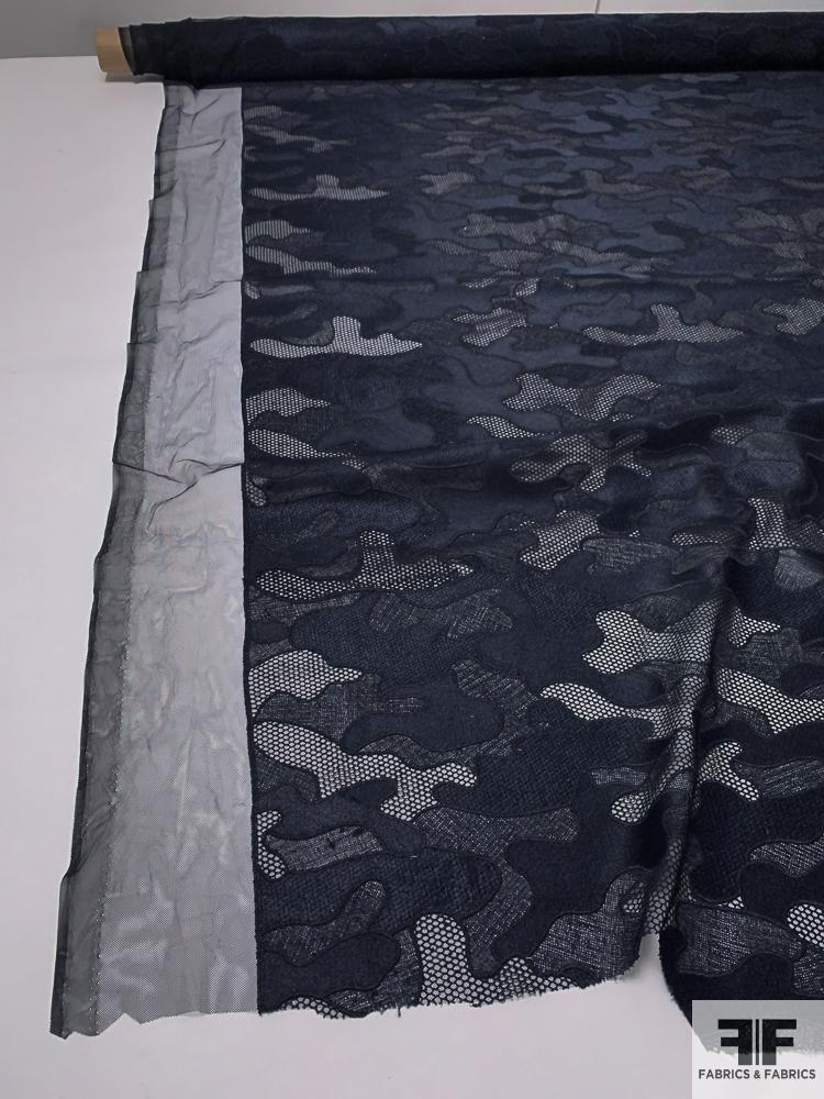 Camouflage Pattern Novelty Embroidered Mesh - Navy