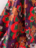 Italian Floral Printed Stretch Polyester Satin - Multicolor