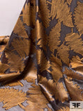 Italian Leaf Design Fil Coupe Silk and Polyester Organza - Coffee Bean / Caramel