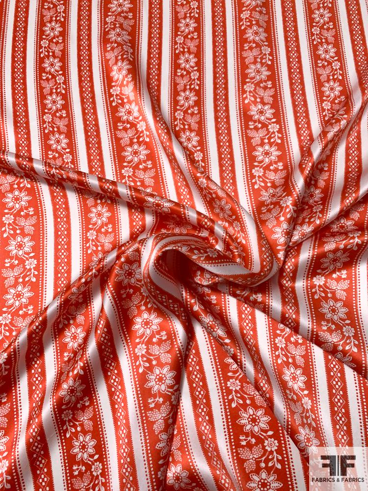 Horizontal Striped and Floral Printed Silk Charmeuse - Tomato Red / White