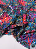 Tropical Floral Printed Chiffon with Printed Sequins - Multicolor