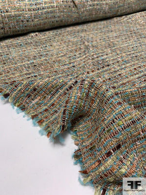Loosely Woven Acrylic Blend Boucle Tweed - Turqouise / Moss Green / Brown